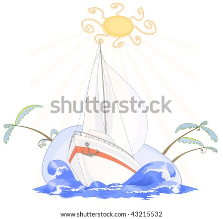 Voyage on the sailing yacht by sea - stock vector