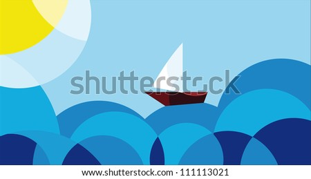 voyage, the ship sails on the sea, vector illustration in cartoon style - stock vector