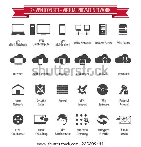 VPN icon set - 24 icon set - Virtual Private Network - stock vector