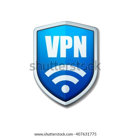 VPN Safety Shield sign - stock vector