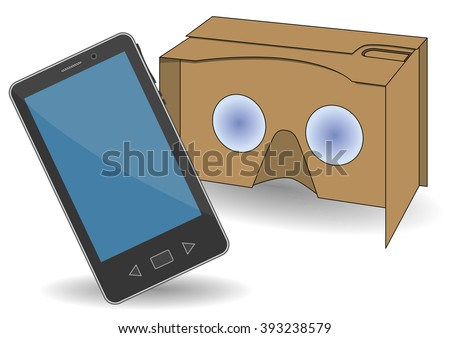 VR cardboard glasses with a mobile phone. New entertainment gadget for use in immersive 3d experiences - stock vector