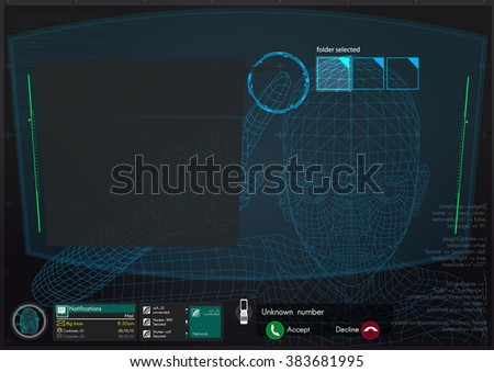 vr futuristic interface technology ,3d wireframe