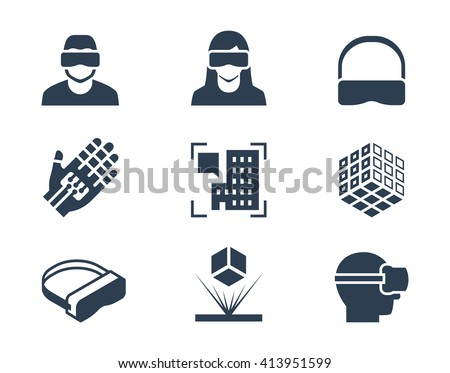 VR or virtual reality, augmented reality and hologram technology vector icon set - stock vector