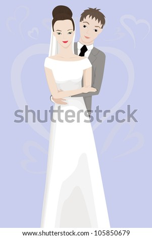 vtctor illustration of happy bride and groom