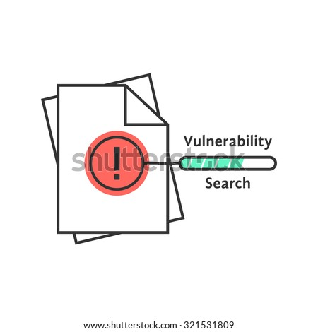 vulnerability search thin line icon. concept of success, verify, loss, infringement, violation, accountant, scan. isolated on white background. flat style trend modern logo design vector illustration - stock vector