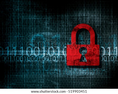 Vulnerable network security data. Background with program code protected by padlock.