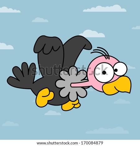 Vulture Cartoon. illustration of Cartoon vulture. Amusing flying Cartoon Vulture illustration. All in a single layer. - stock vector