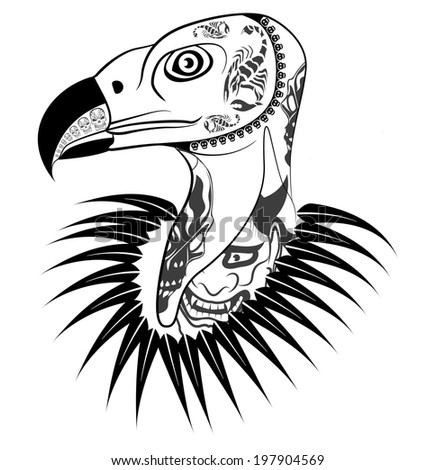 Vulture head with tattoo vector - stock vector