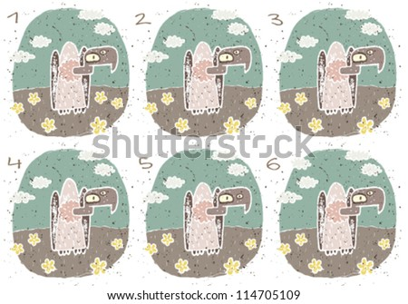 Vulture Puzzle ... Task: Find two images that are alike! (match pairs); Answer: No. 2 and 3. - stock vector