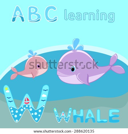 W is for Whale Baby whale with water splash vector illustration Cute cartoon whale vector Sea mammal vector Sea life kids education Happy whale family Sea animal W letter type font Funny cartoon ABC - stock vector