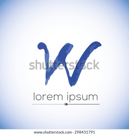 W letter calligraphic hand drawn vector logo (sign, symbol, icon) - stock vector