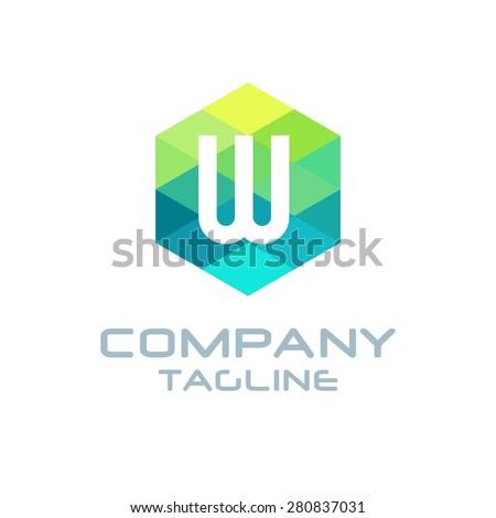 W Letter Logo Icon Hexagon Mosaic Pattern Design template Element - Creative Shape Polygonal logo design - Vector illustration - stock vector