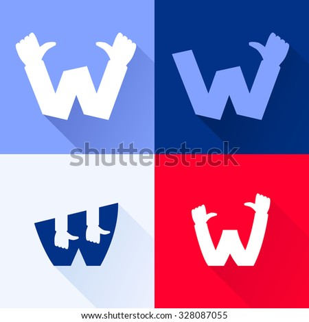 W letter with thumb up set. Vector logo design template elements for your application or corporate identity. - stock vector