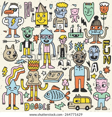 Wacky crazy colorful doodles set 5. Vector illustration. Hand drawn. - stock vector