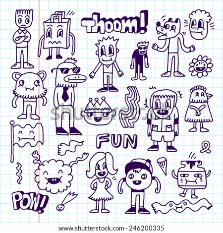 Wacky crazy doodles set 2. Vector illustration. Hand drawn. School notebook.