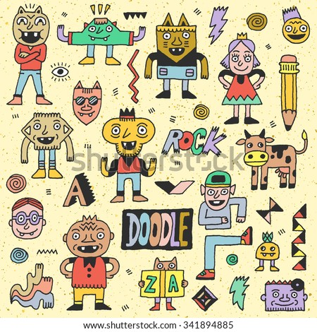 Wacky Funny Fantastic Doodle Characters Set 1. Vector Hand Drawn Color Illustration.