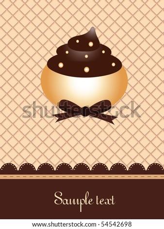 wafer cupcake design - stock vector