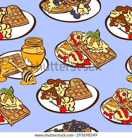 - set of different wafers. Waffles with honey, syrup, berries ...