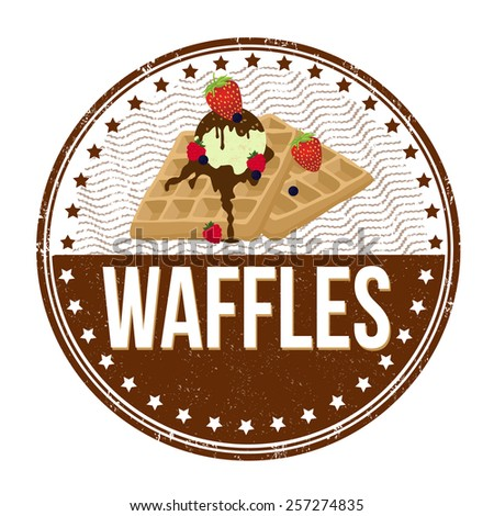 Waffles grunge rubber stamp on white background, vector illustration - stock vector