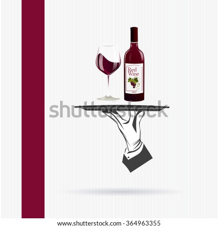 Waiter/butler hand holds a tray with a bottle of red wine and glass vector illustration isolated. Classic banner for restaurant/cafe menu and also wine list. Great design for catering. - stock vector