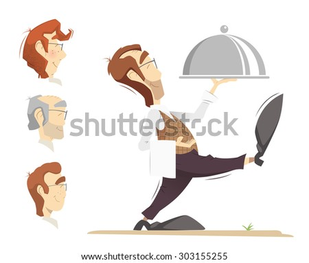 Waiter carrying an order. Color vector illustration. - stock vector