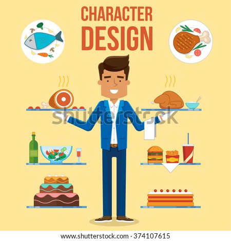 Waiter Character Design Set. Vector Food Illustration - stock vector