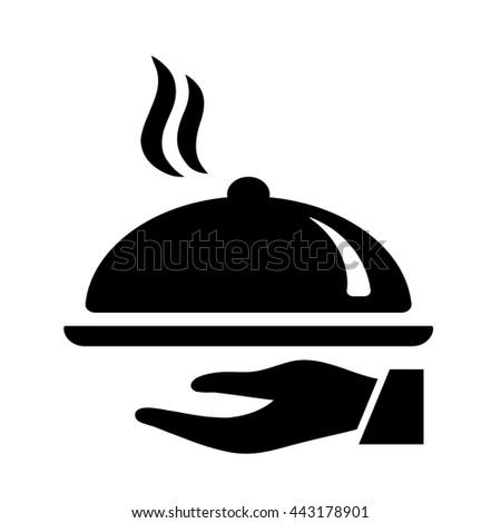 waiter dining dish black icon on white background - stock vector