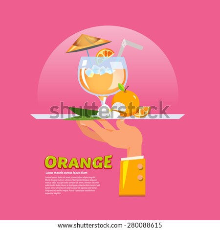 Waiter hand hold the tray with orange in glasses juice and fruit. freshness service concept - vector illustration - stock vector
