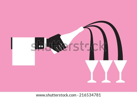 waiter hand holding a wine bottle and pouring  glasses of wine - stock vector