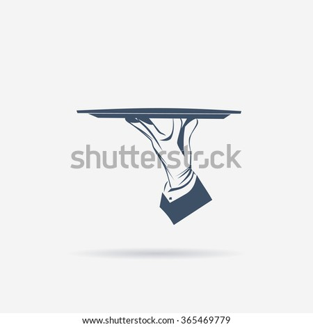 Waiter hand in glove holds a tray over white background. Simple illustration vector logo, isolated. Classic banner or label for restaurants, cafe, menu and any business.  - stock vector
