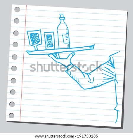 Waiter holding drinks - stock vector