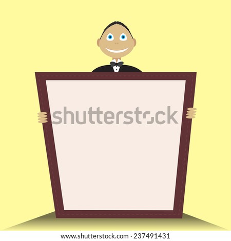 Waiter holding hands in the menu - stock vector