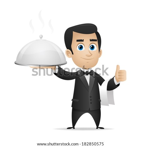 Waiter holding tray and showing thumbs up - stock vector