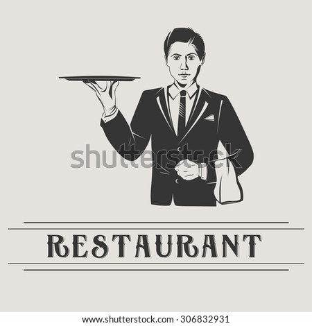 Waiter holds a tray isolated, vector vintage illustration of waiter with retro sign of restaurant. Retro poster butler with tray. - stock vector