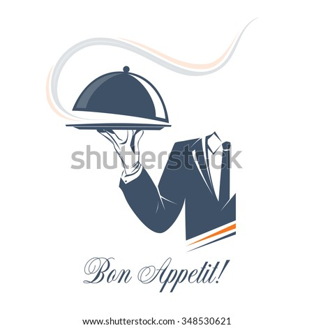 Waiter holds a tray with smoke under lid over white background. Simple illustration vector logo, isolated. Bon Appetit sign. Classic banner or label for restaurants, cafe and any business.  - stock vector