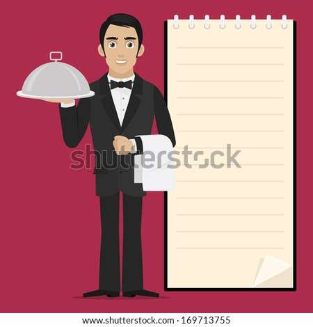 Waiter holds tray in hand - stock vector
