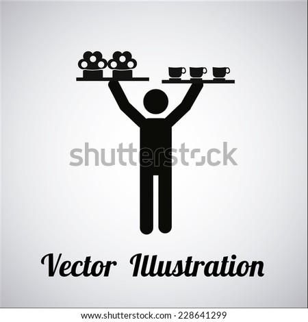 waiter illustration over gradient color background - stock vector