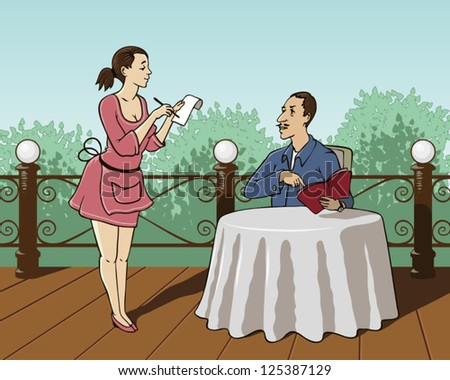 Waiter in a summer cafe accepts the order of the visitor. - stock vector