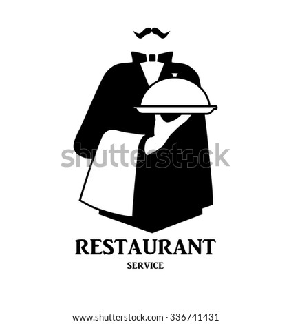 Waiter logo design. Stylized graphic image waiter with tray as template of company logotype. Vector illustration. - stock vector