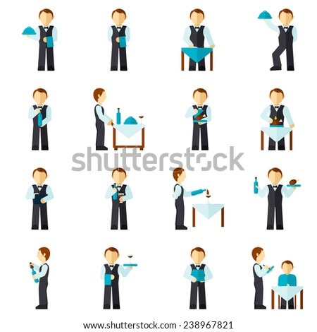 Waiter man with restaurant employee avatar icon flat set isolated vector illustration - stock vector