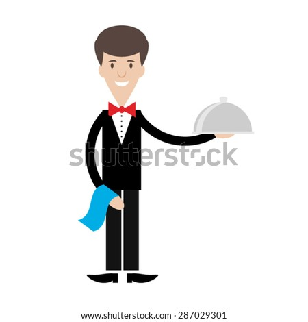 Waiter of hand holding silver plate. Flat vector illustration. Isolated on white background. - stock vector