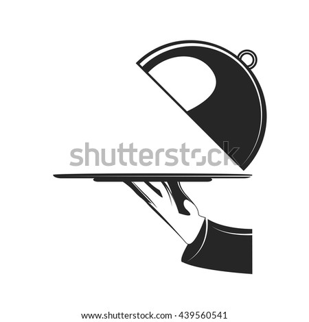 Waiter's hand holding empty tray. Restaurant cloche in hand the waiter. Plate with dish. Isolated on white background. Vector illustration. - stock vector