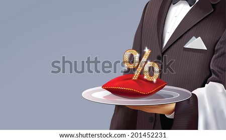 Waiter serving some good discounts - stock vector
