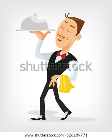 Waiter serving. Vector flat illustration - stock vector