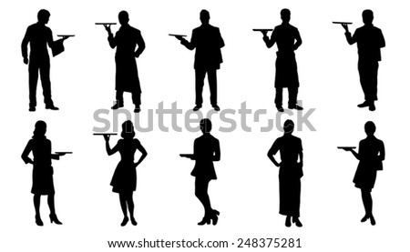 waiter silhouettes on the white background - stock vector