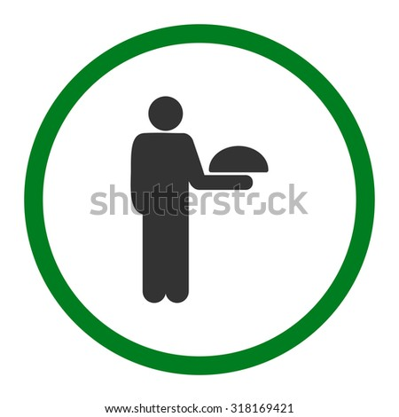 Waiter vector icon. This rounded flat symbol is drawn with green and gray colors on a white background.