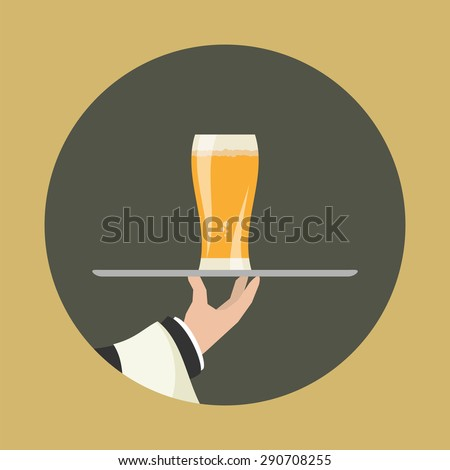 Waiter with glass of beer and tray on outstretched arm. Foods Service icon. Simple flat vector. - stock vector