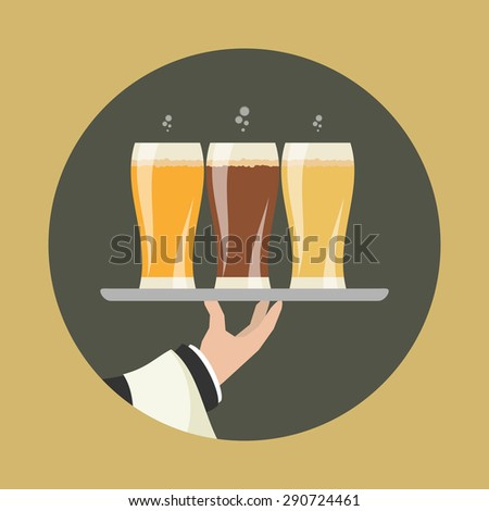 Waiter with three glasses of beer and tray on outstretched arm. Foods Service icon. Simple flat vector. - stock vector