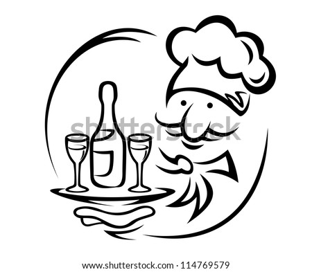 Waiter with tray and champagne for food service design, such a logo. Jpeg version also available in gallery - stock vector