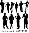 waiters and waitresses silhouette collection - vector - stock photo